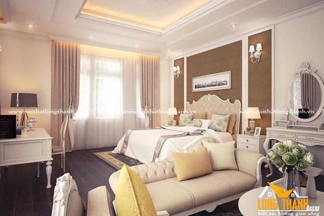 Thiết kế nội thất phòng ngủ tân cổ điển cho nhà biệt thự rộng