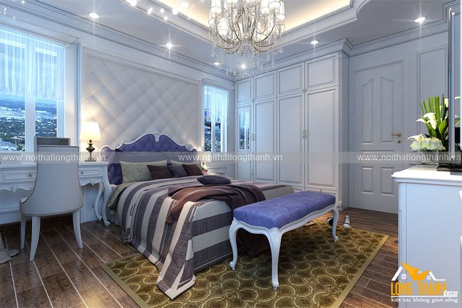 Phòng ngủ tân cổ điển cho nhà phố rộng