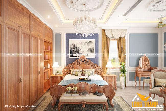 Phòng ngủ tân cổ điển gỗ Gõ tự nhiên