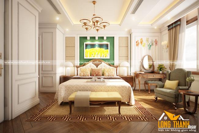 Phòng ngủ tân cổ điển gỗ tự nhiên Óc chó