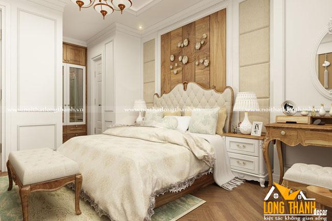 Phòng ngủ tân cổ điển gỗ tự nhiên Óc chó kết hợp sơn trắng