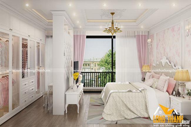 Phòng ngủ tân cổ điển gỗ tự nhiên sơn trắng – xu hướng được nhiều gia chủ lựa chọn
