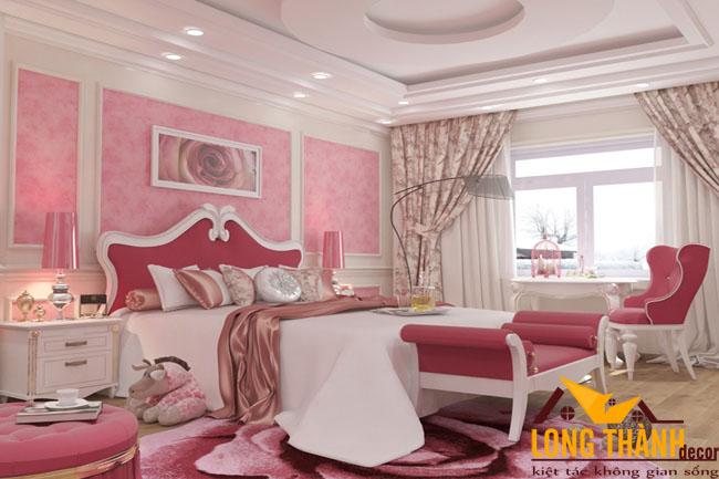 Phòng ngủ tân cổ điển nhẹ nhàng và nữ tính