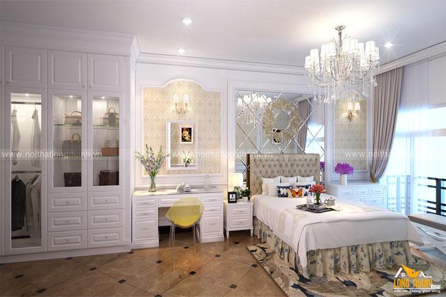 Phòng ngủ tân cổ điển với gam màu trắng sáng tinh khôi