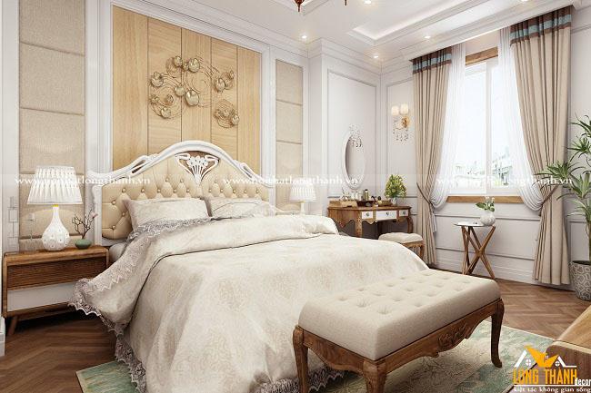 Phòng ngủ tân cổ điển với gam màu trắng tinh khôi