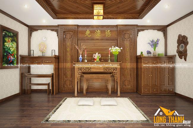 Phòng thờ gỗ Hương đẹp cho nhà rộng