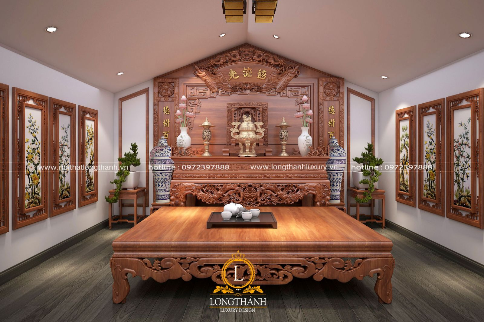 Không gian tâm linh phòng thờ được sử dụng gỗ Hương