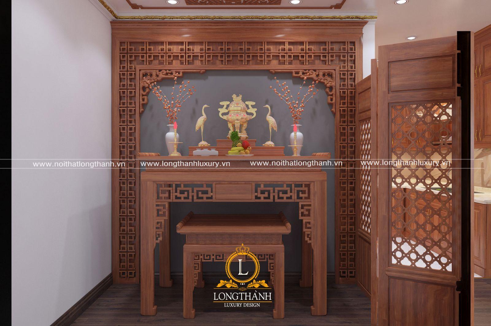 Thiết kế bàn thờ cho nhà chung cư sang trọng tôn nghiêm