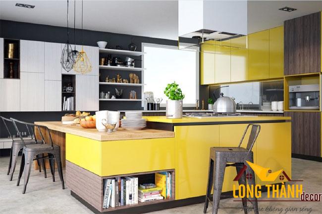 Rực rỡ sắc màu với tủ bếp Acrylic hiện đại L19