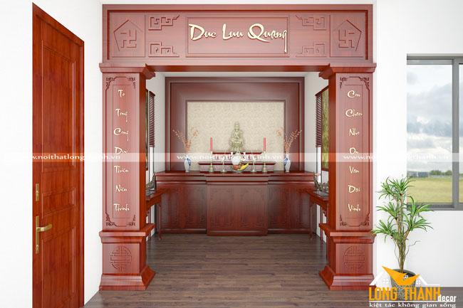 Sang trọng, đẳng cấp cùng phòng thờ gỗ Hương đỏ cho nhà rộng