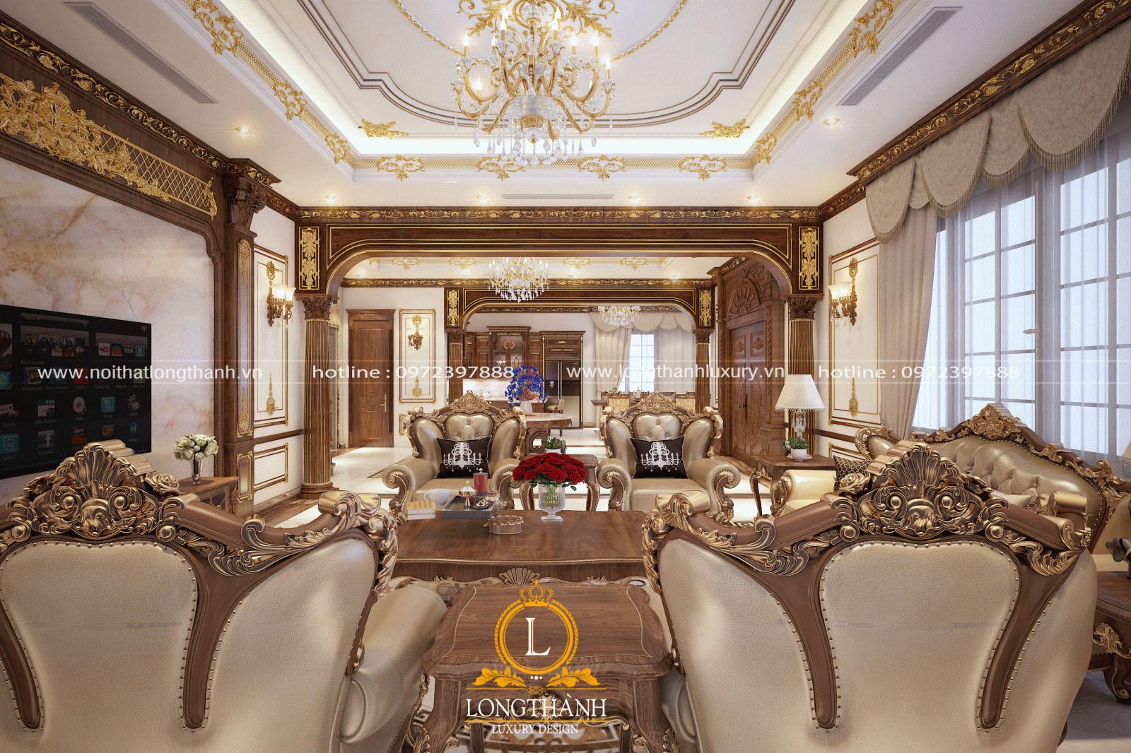 Sofa tân cổ điểntrang hoàng cho phòng kháchđẹp như cung điện