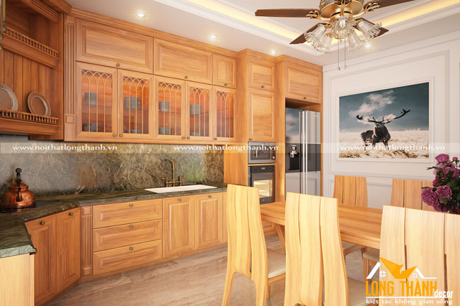 Thân thiện, gần gũi cùng tủ bếp tân cổ điển gỗ Sồi Mỹ