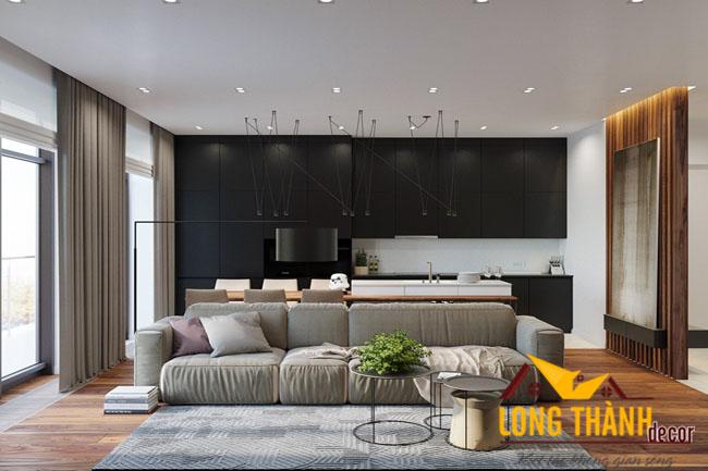 Thiết kế căn hộ chung cư với nội thất phòng khách kết hợp bếp