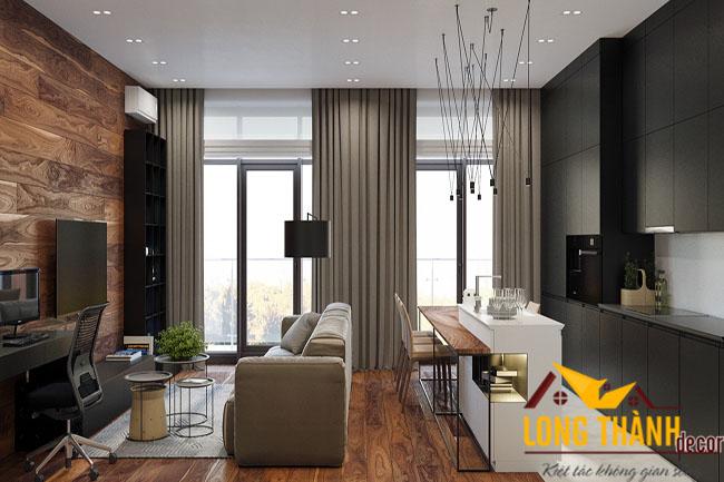 Thiết kế căn hộ với phòng khách kết hợp bếp