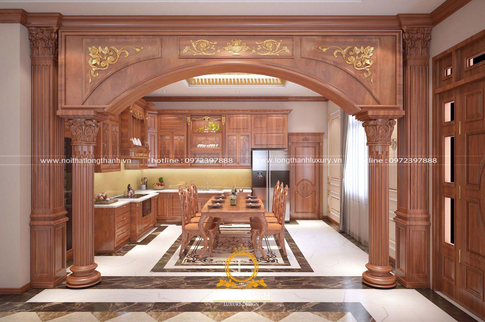 Tổng thể thiết kế nội thất phòng bếp với bộ bàn ăn sang trọng tiện lợi
