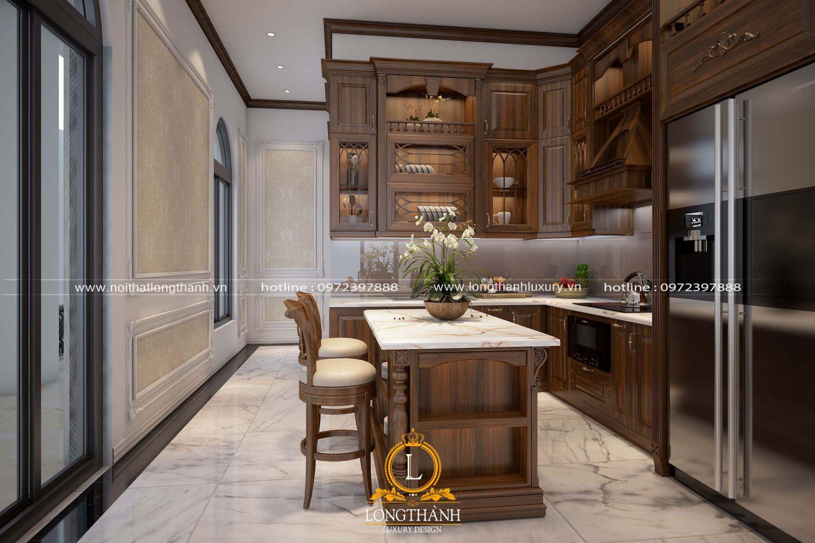 Thiết kế tủ bếp cho không gian nhà phố phong cách tâ cổ điển