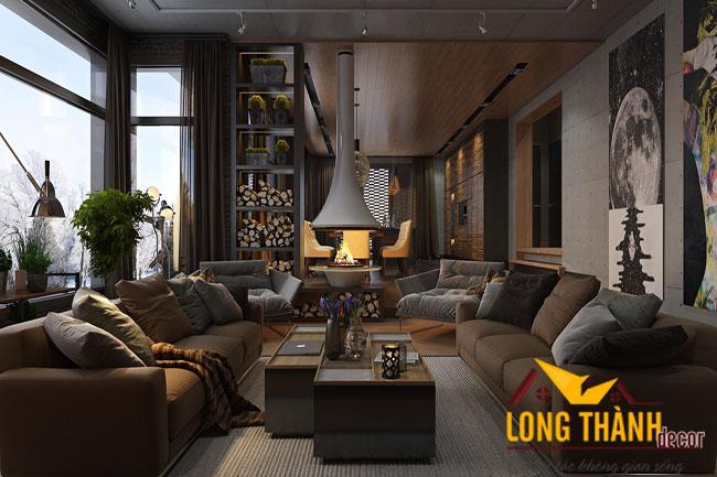 Thiết kế nội thất biệt thự bằng gam màu trầm tinh tế