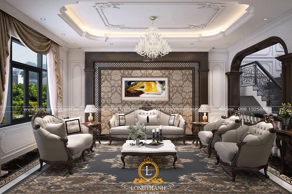Bộ sofa lớn phù hợp với không gian phòng khách biệt thự có diện tích rộng