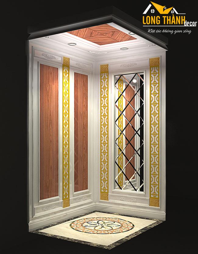 Thiết kế nội thất cầu thang máy cho gia đình anh Tuyển ở Biệt Thự Vinhome Sài Đồng