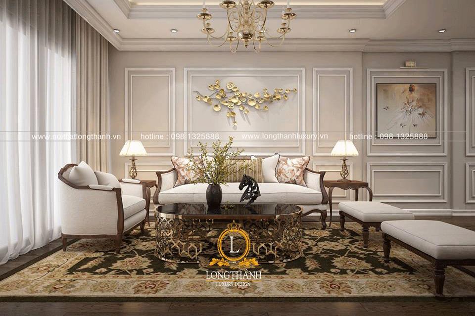 Không gian phòng khách thông thoáng với bộ sofa đơn giản nhẹ nhàng