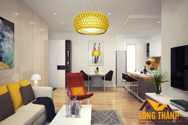 Thiết kế nội thất phòng khách + bếp dành cho căn hộ chung cư
