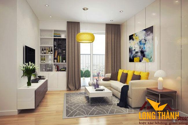 Thiết kế nội thất khách + bếp dành cho căn hộ chung cư