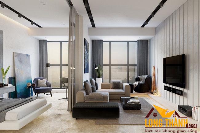 Thiết kế nội thất chung cư không gian mở kết hợp phòng khách và phòng ngủ