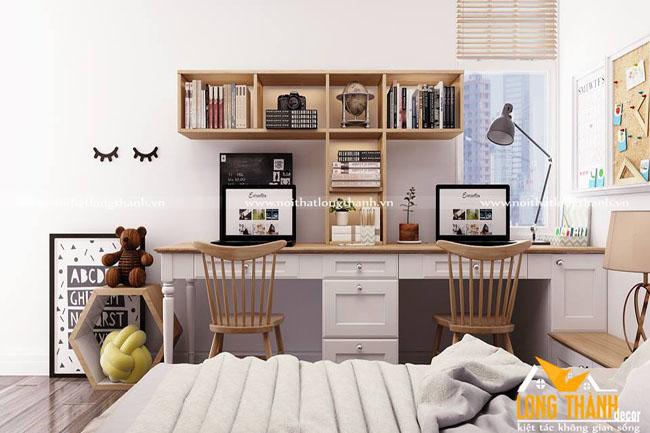 Thiết kế nội thất nhà chung cư đẹp với gỗ Sồi Mỹ tự nhiên kết hợp Veneer Sồi
