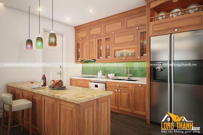 Thiết kế nội thất nhà chung cư theo phong cách hiện đại bằng gỗ Gõ tự nhiên