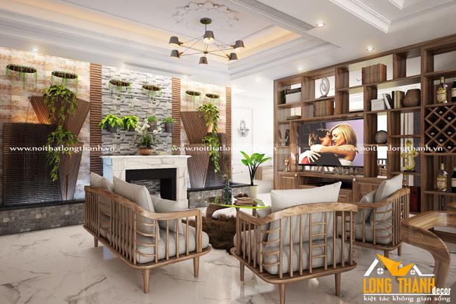 Thiết kế nội thất nhà chung cư với gỗ Cẩm tự nhiên