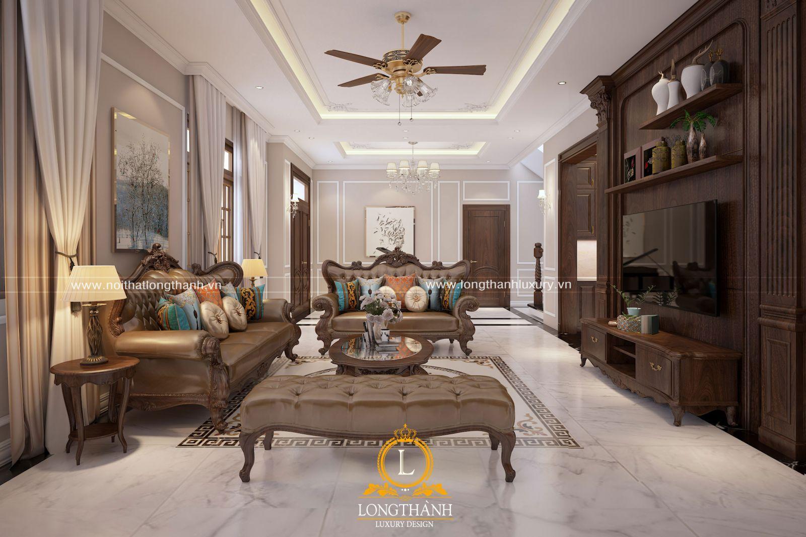 Không gian phòng khách với sofa tân cổ điển tinh tế