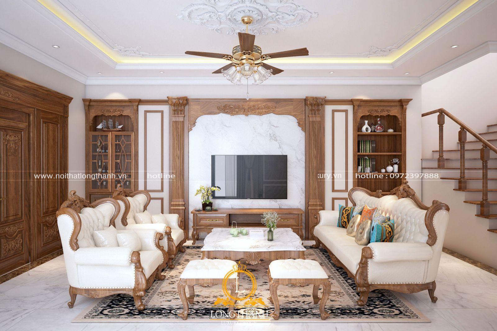 Không gian phòng khách với bộ sofa tân cổ điển tinh tế