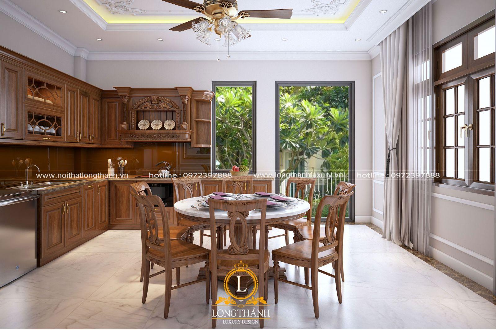 Thiết kế phòng bếp nhà phố hẹp sử dụng chất liệu gỗ Gõ đỏ
