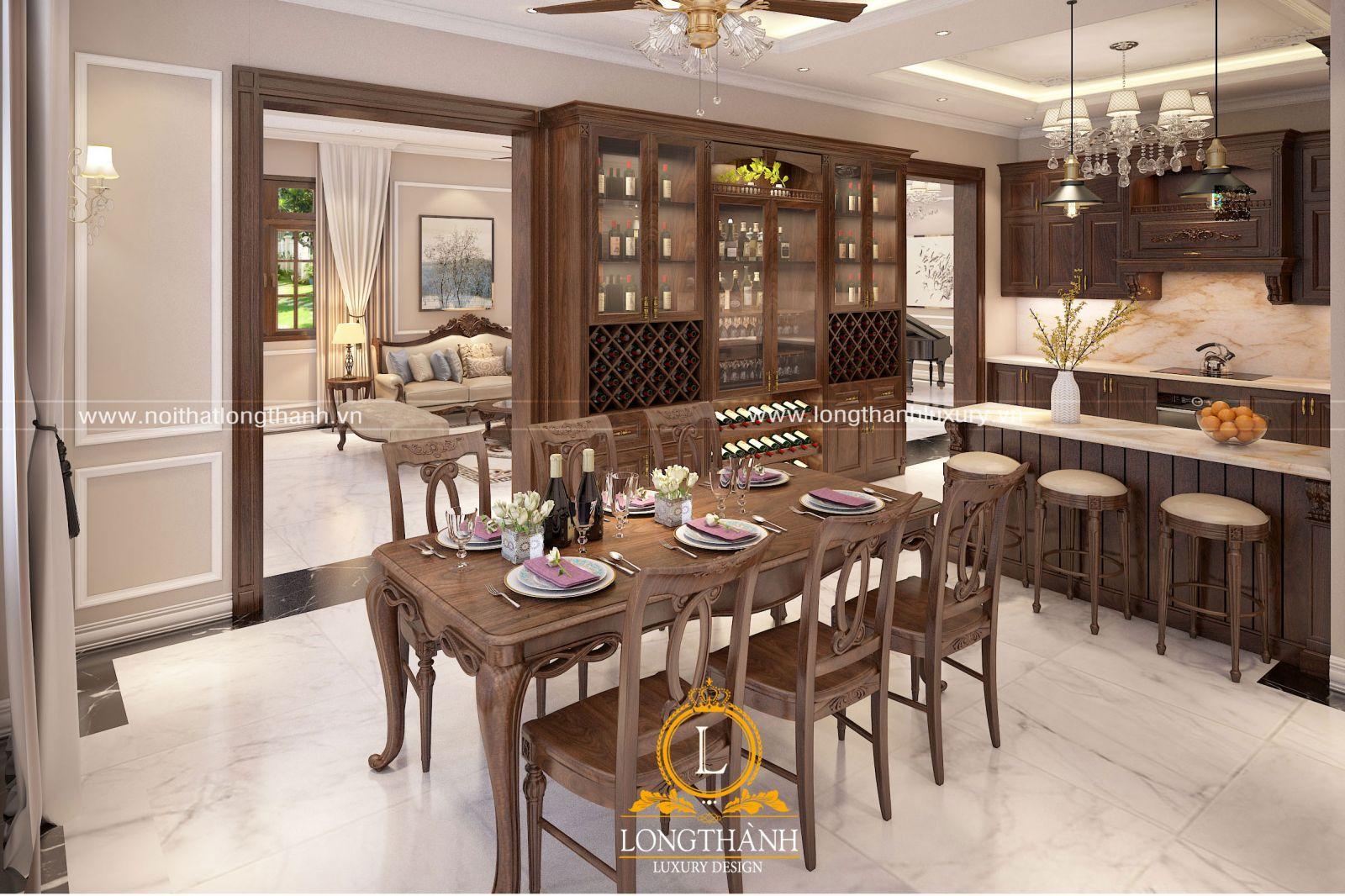 Thiết kế nội thất phòng bếp nhà biệt thự 2 tầng phong cách tân cổ điển