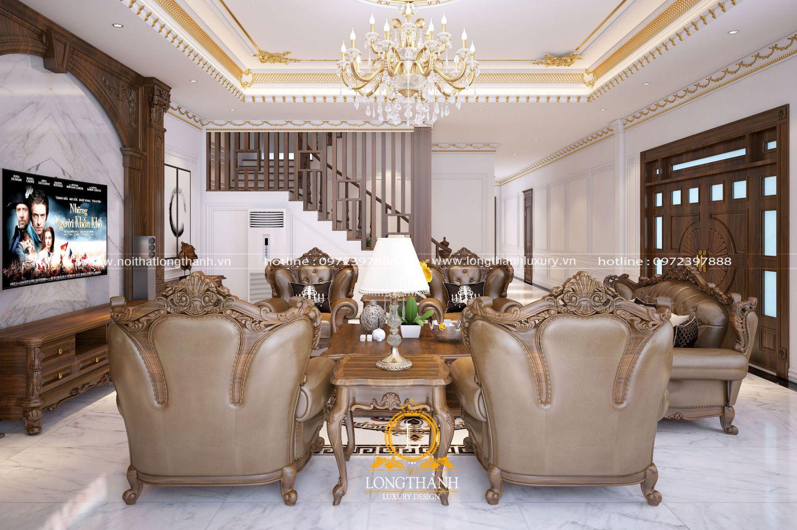 Thiết kế nội thất không gian phòng khách nhà biệt thự