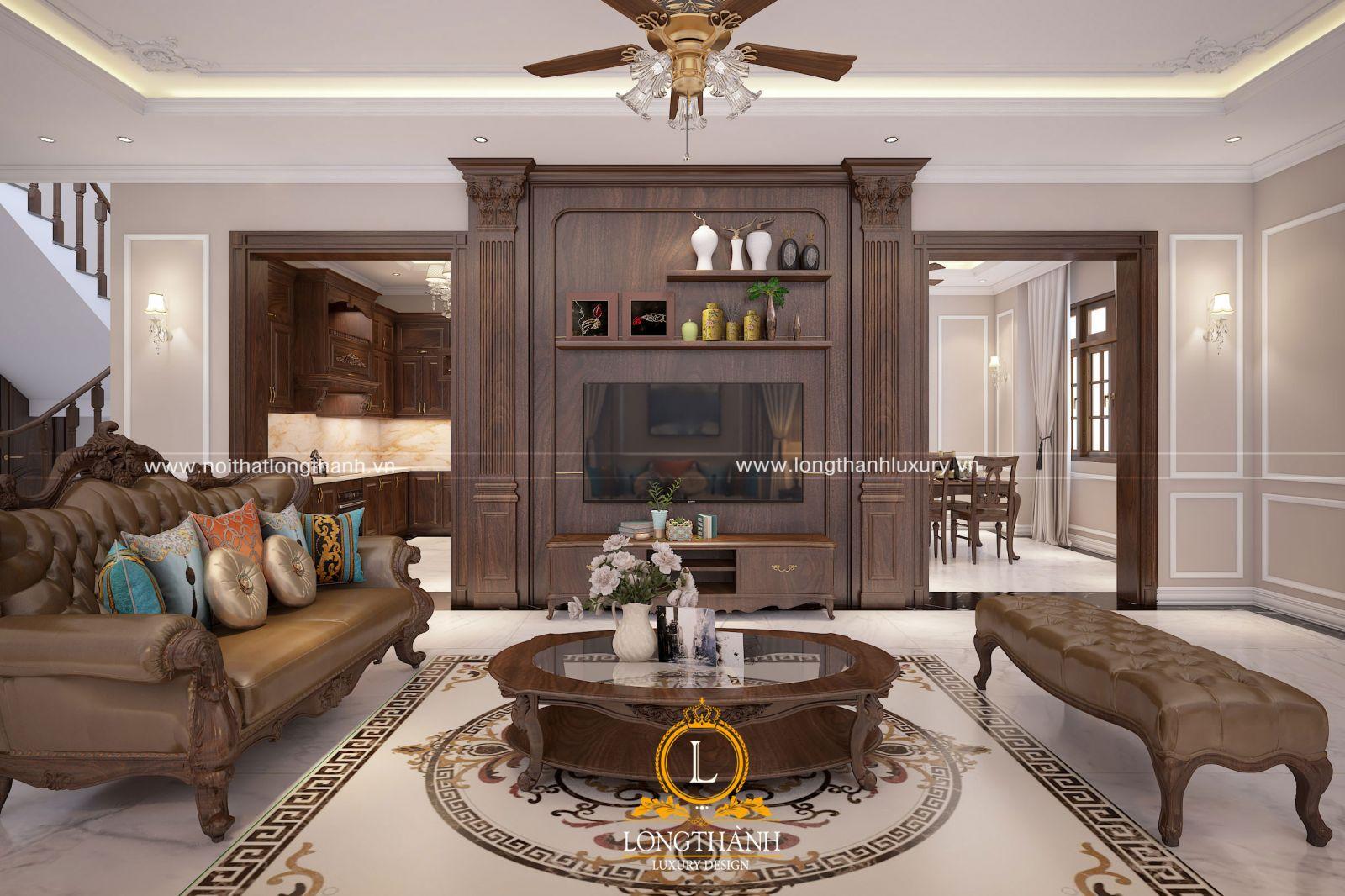 Vách ngăn phân chia phòng khách và phòng ngủ nhà phố tiện nghi