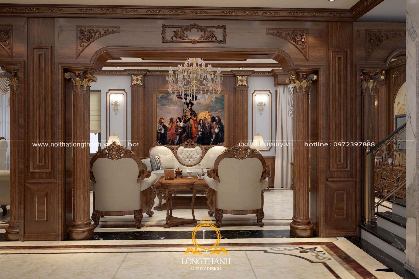Kết hợp kiến trúc để thiết kế nội thất tân cổ điển cho phòng khách nhà biệt thự