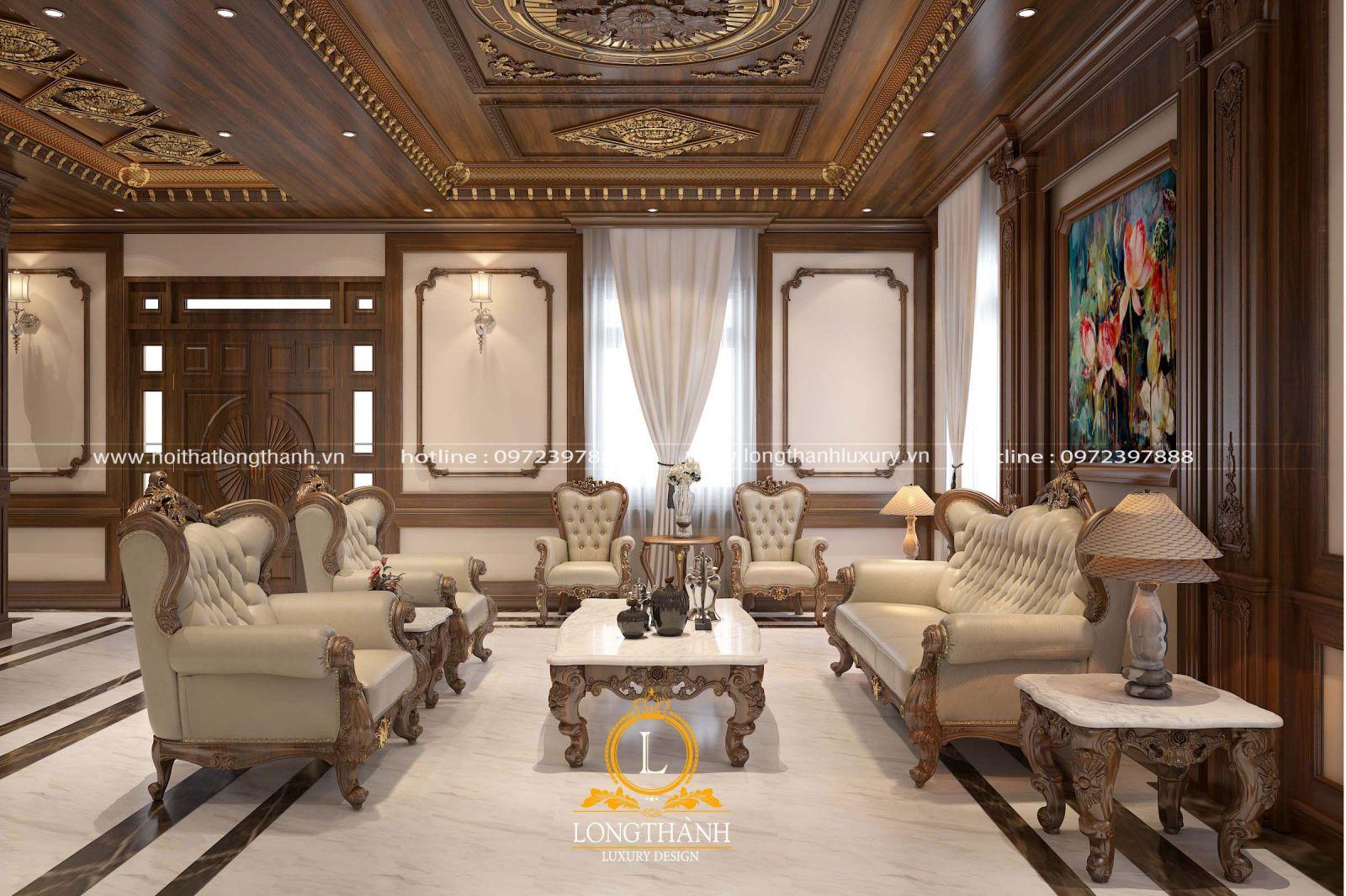 Thiết kế nội thất phòng khách đẹp với góc nhìn chính diện sofa