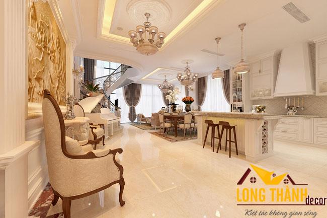Thiết kế nội thất tân cổ điển gia đình anh Phong biệt thự Linh Đàm