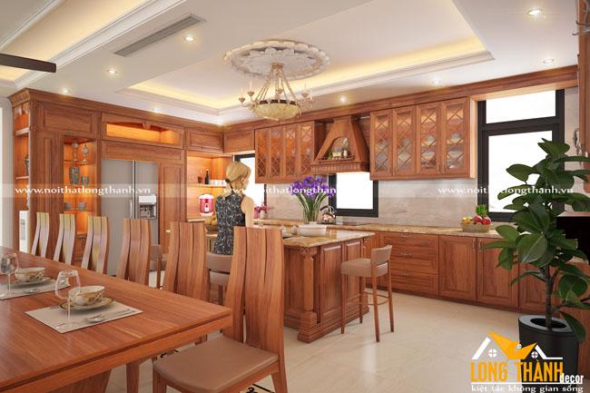 Thiết kế nội thất tân cổ điển gỗ Gõ tự nhiên cho nhà biệt thự rộng