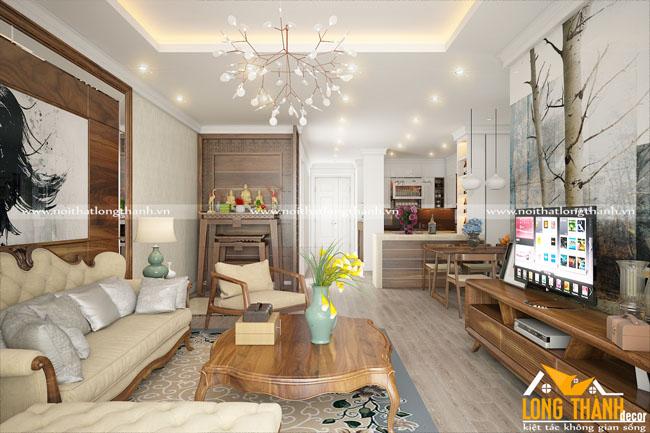 Thiết kế nội thất tân cổ điển nhẹ nhàng kết hợp hiện đại cho nhà chung cư cao cấp