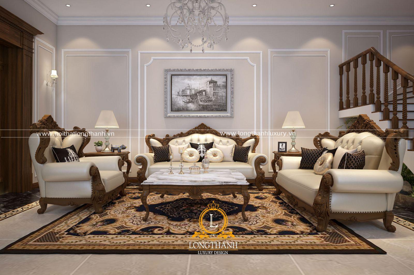 Mẫu sofa tân cổ điển đẹp LT12 góc nhìn thứ 1