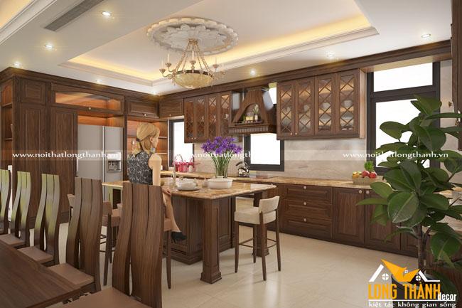 Thiết kế nội thất tân cổ điển với gỗ Óc chó tự nhiên