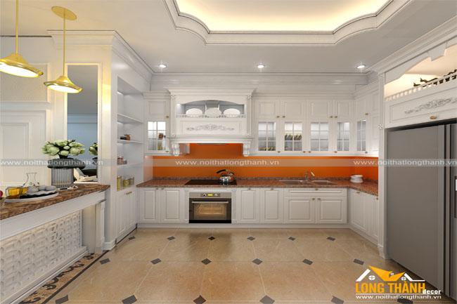 Thiết kế phòng bếp biệt thự theo phong cách tân cổ điển