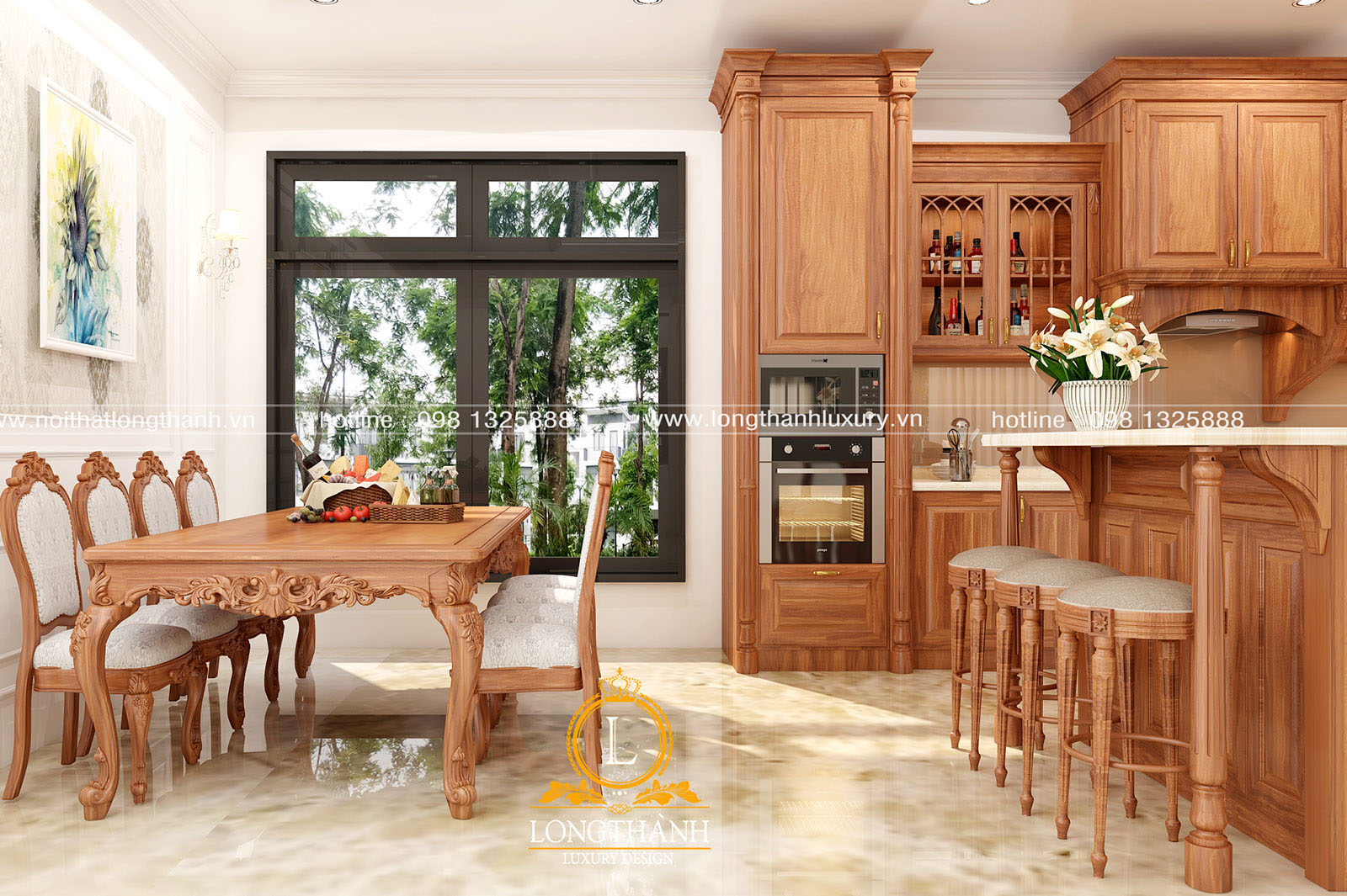 Tổng thể không gian phòng bếp với nội thất gỗ Gõ đỏ tự nhiên