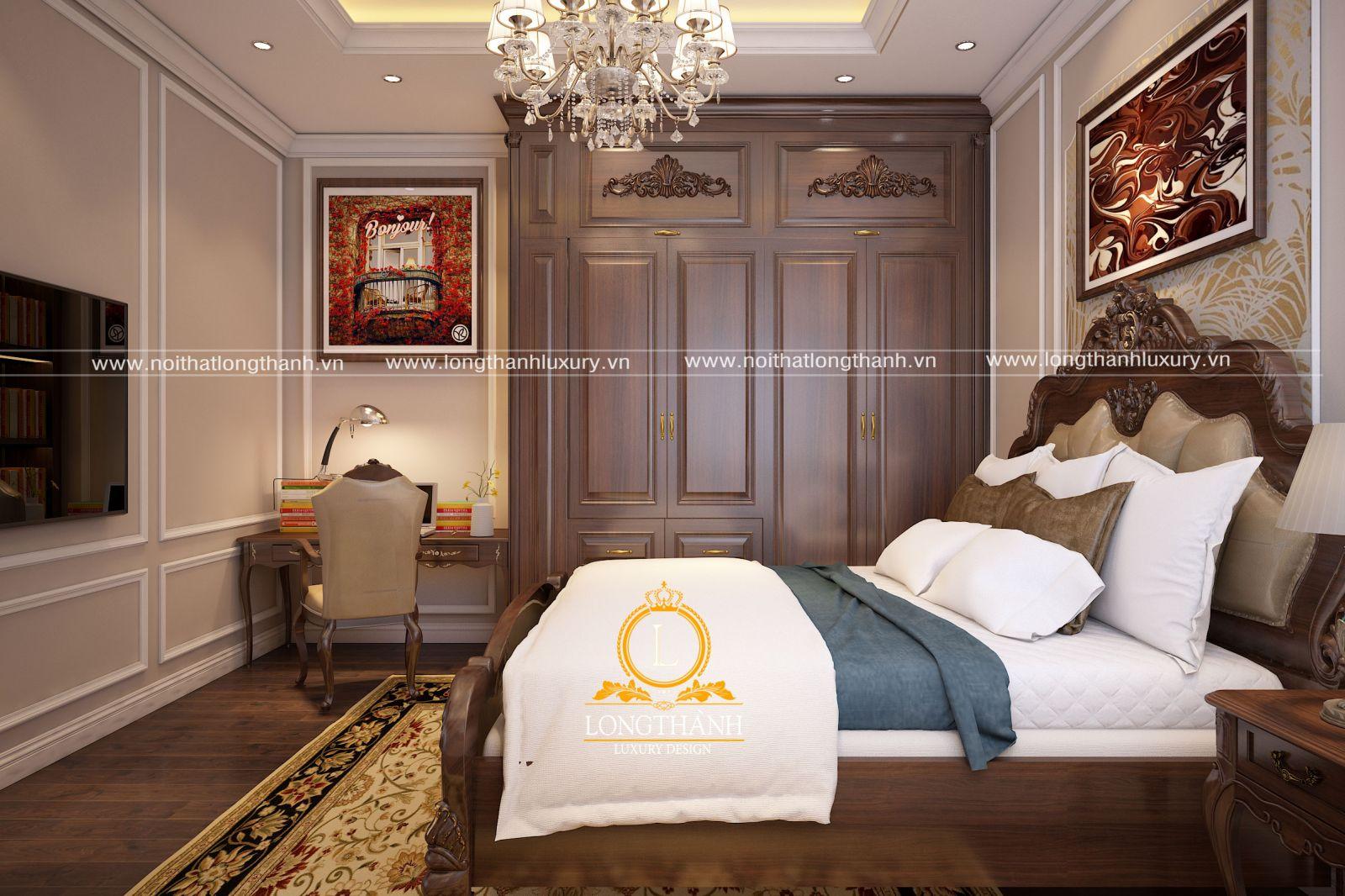 Thiết kế nội thất phòng ngủ nhà phố đẹp sử dụng gỗ Sồi tự nhiên