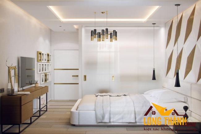 Thiết kế nội thất phòng ngủ cao cấp đẹp với chất liệu gỗ Acrylic
