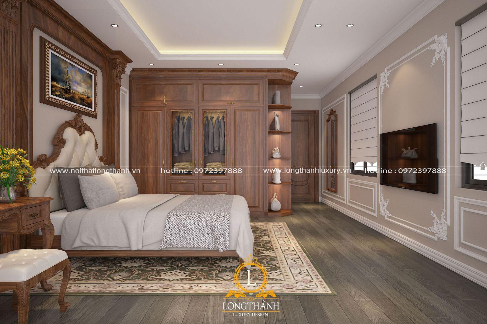 Thiết kế phòng ngủ nhà phố phong cách tân cổ điển sủ dụng gỗ Gõ đỏ