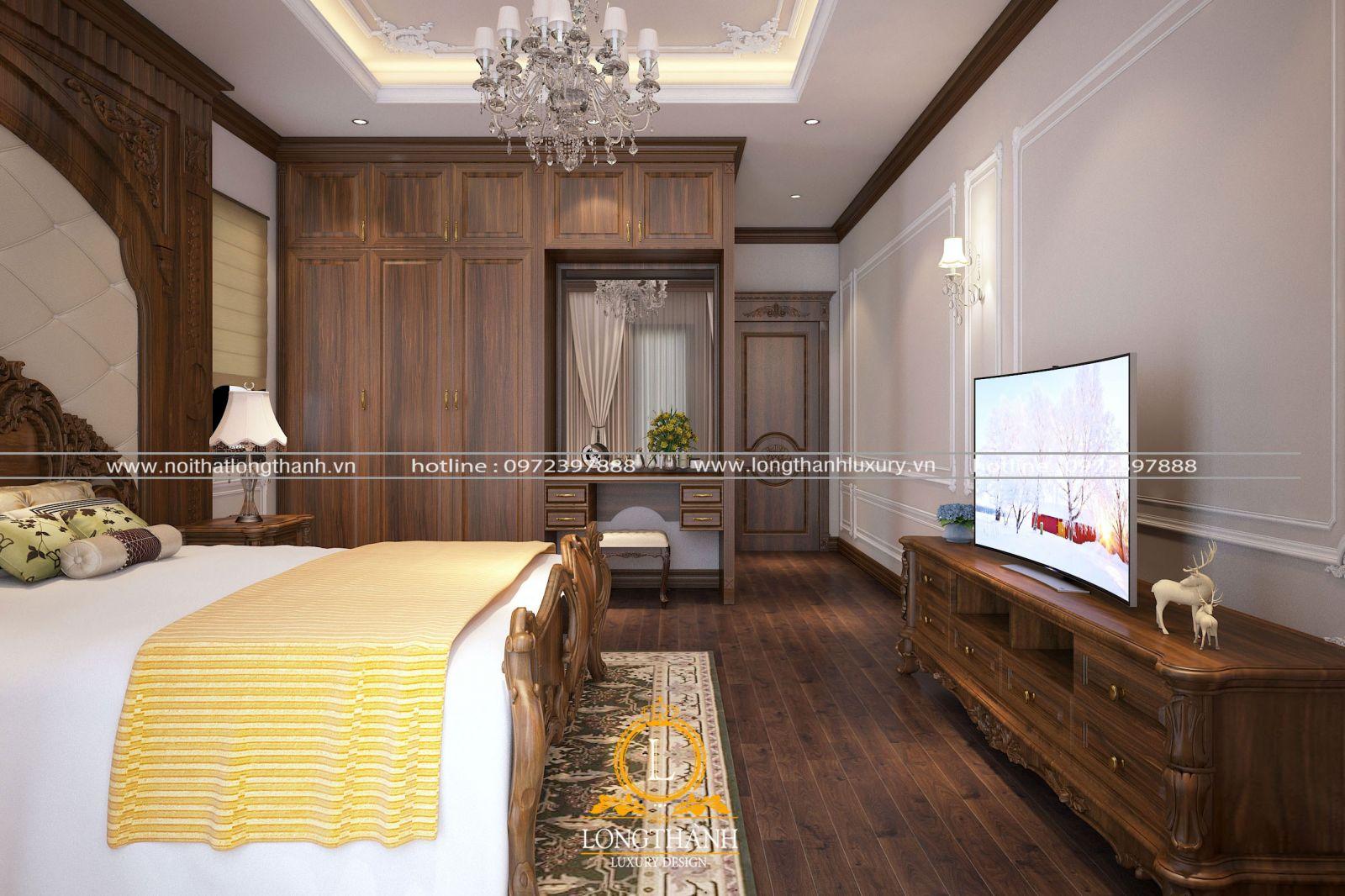 Thiết kế không gian nội thất phòng ngủ góc nhìn chính tủ quần áo