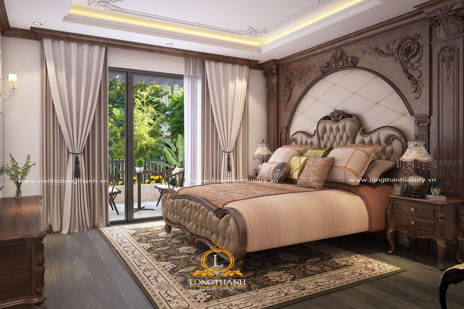 Phòng ngủ tân cổ điển đẹp - góc nhìn hướng ra cửa sổ